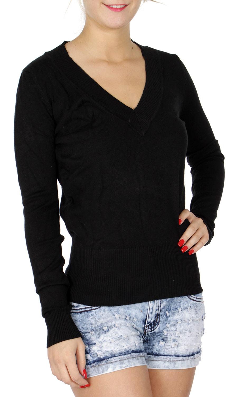 H40B Long sleeve V neck SWEATER Black