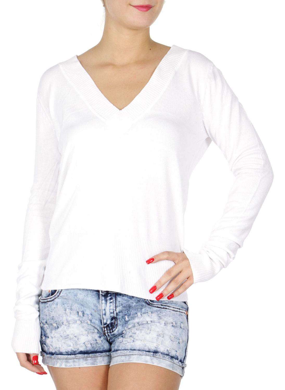 H40B Long sleeve V neck SWEATER White