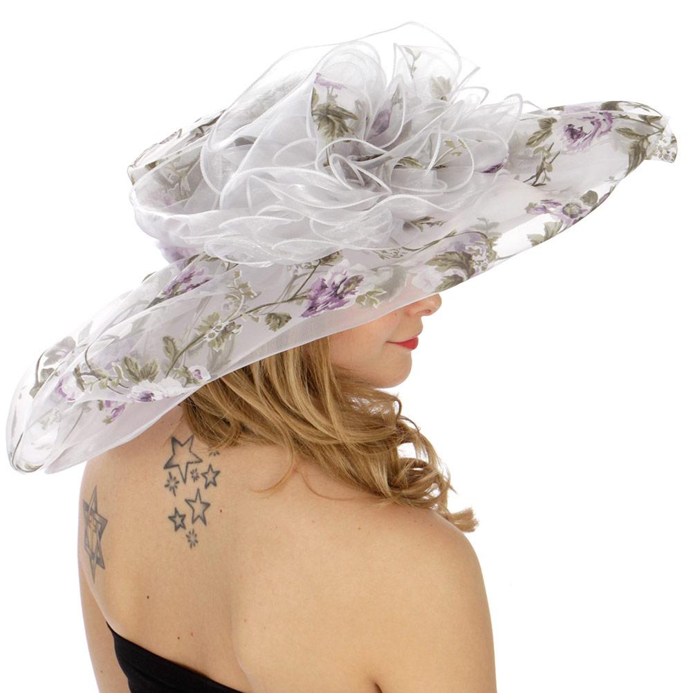 Wholesale BX70 Double layer floral organza hat Purple