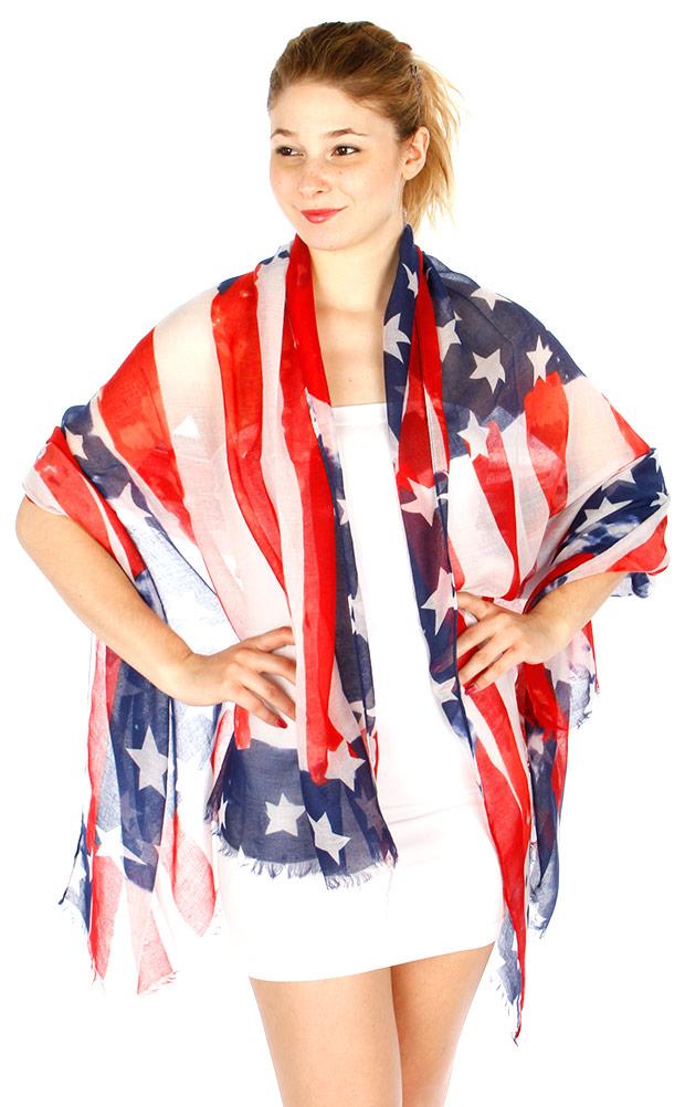 wholesale h40d vintage americana flag scarf