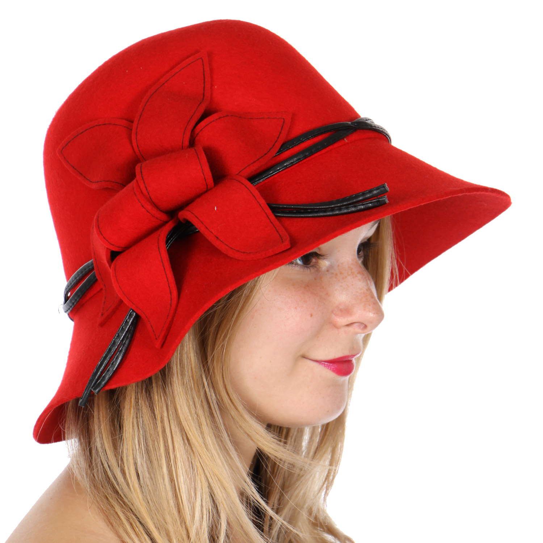 W82-1 Flower wool felt cloche HAT RED