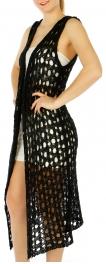Wholesale O04D Cut out knit long vest Black