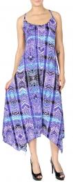 Wholesale K75D Tribal stripes print handkerchief dress PLUS SIZE BLUE