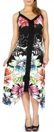 Wholesale H36C Watercolor flower sidetail dress PLUS SIZE Black