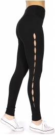 Wholesale F13C Side eyelets solid active leggings
