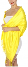 wholesale D45 Silky Solid Wedding Pashmina 38 Yellow