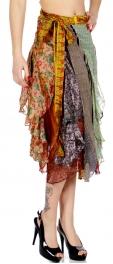 Wholesale P11 Colorful Pattern Unique Sari Ruffle Top/Skirt NV
