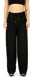 Wholesale B00D Draw string pleated palazzo pants Black