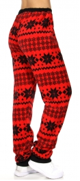 Wholesale Q66C Pattern Snow flakes cozy plush long fleece pants Red