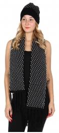 Wholesale O27E Polka dot scarf & hat set Black/White