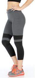 wholesale K56 Two tone colorblock active capri pants Black