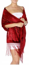 Wholesale S06D Abstract Pattern Burn Out Velvet Shawl BK