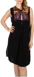 Wholesale K17B Colorful diamonds & flower embroidery string tie open dress Black