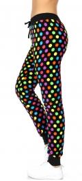 Wholesale K61 Polka dots plush jogger pants Black/Multi