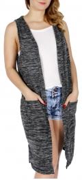 Wholesale H49B Heathered long vest Grey