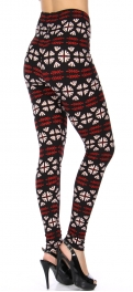 Wholesale S20B NEW MIX Soft brushed print leggings Red Tribal