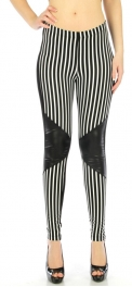 wholesale B14 Stripes fleather cotton leggings Black S