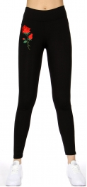 Wholesale P12A Flower embroidery active leggings Black