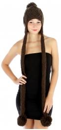 wholesale F19 Hand Knit hat w/ string Brown fashionunic