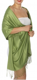 wholesale D45 Silky Solid Wedding Pashmina 15 A Green