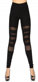 Wholesale Q50 Cutout mesh detail workout leggings Black