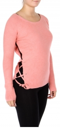 Wholesale E50 Criss cross side slit sweater Peach