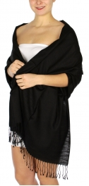 wholesale D01 Silky Light Wedding Pashmina 01 Black