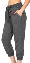 wholesale N03 Cotton blend solid capri pants Black