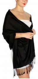 wholesale D45 Silky Solid Wedding Pashmina 01 Black