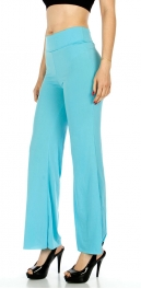 Wholesale WA00 Solid Color Palazzo Pants AQUA