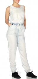 Wholesale N39D Washed denim cross back jumpsuit Washed Blue