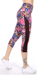 Wholesale C06E Side mesh panel capri activewear leggings PK/YL