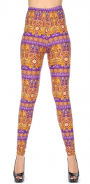 Wholesale T10C NEW MIX Soft brushed print leggings Purple Mandala