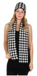 Wholesale O27E Houndstooth scarf & hat set Black/White