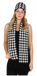 Wholesale O27E Houndstooth scarf & hat set Black/White