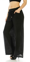 Wholesale A00 Cotton blend solid palazzo pants Black