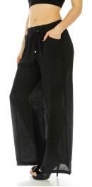 Wholesale A00 Cotton blend solid palazzo pants Black