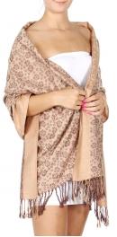 Wholesale D25 Cherry blossom print Pashmina Camel