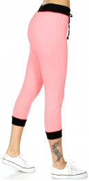 Wholesale R24C Two tone drawstring french terry capri jogger Neon Coral