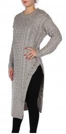 Wholesale P24C Long split sweater Light Grey
