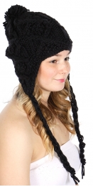 wholesale F03 Hand knitted trapper hat Black fashionunic