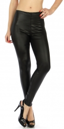 Wholesale E10 Shiny solid liquid leggings Black