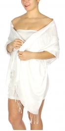 wholesale D01 Silky Light Wedding Pashmina 02 White