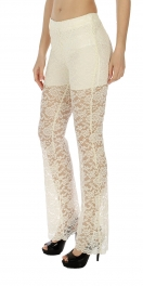 Wholesale H16 Embellished lace cotton blend pants Yellow