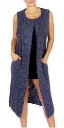 Wholesale O12D Long Open Cardigan Vest Blue