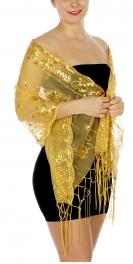 Wholesale H47D Flowers & hearts sequined mesh shawl RD