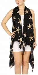 Wholesale H06C Starfish print long vest BK