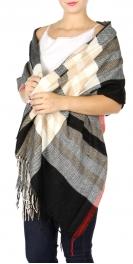 Wholesale P15B Oversized plaid fringe scarf