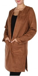 Wholesale S29C Faux suede jacket Camel