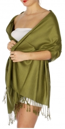 wholesale D45 Silky Solid Wedding Pashmina 08 Olive